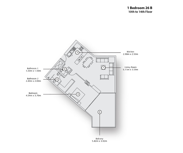 1 Bedroom Apartment 26 B, 10th to 14 th Floor