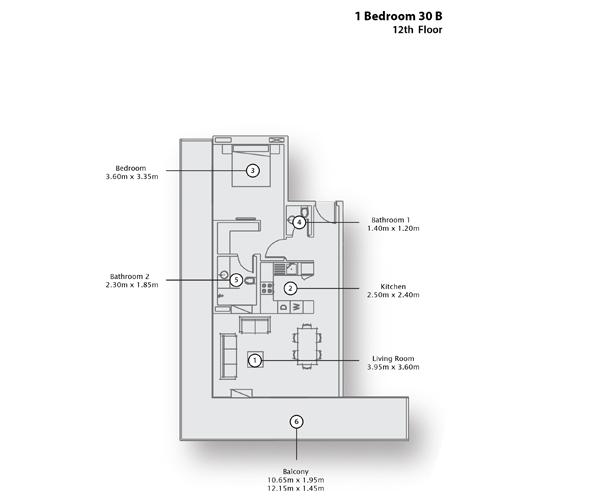 1 Bedroom Apartment 30 B, 12th Floor