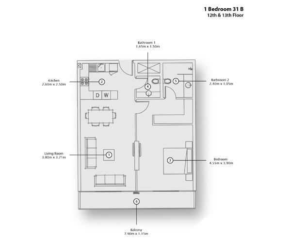 1 Bedroom Apartment 31 B, 12th & 13th Floor