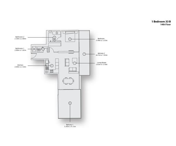 1 Bedroom Apartment 33 B, 14th Floor