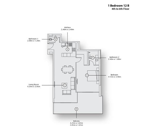 1 Bedroom Apartment, 4th to 6th Floor