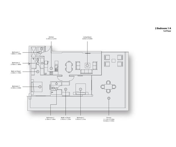2 Bedroom Apartment 1 A, 1st Floor