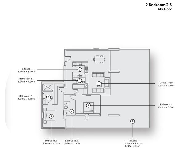 2 Bedroom Apartment 2 B, 6th Floor
