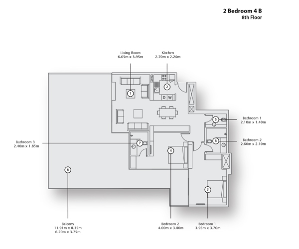 2 Bedroom Apartment 4 B, 8th Floor