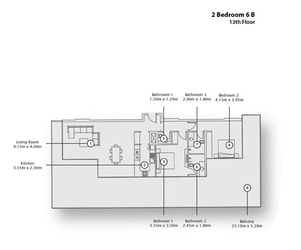 2 Bedroom Apartment 6 B, 13th Floor