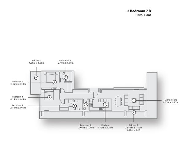 2 Bedroom Apartment 7 B, 14th Floor