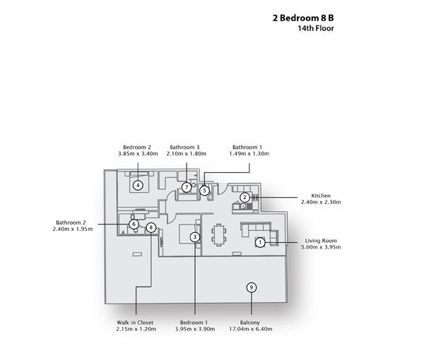 2 Bedroom Apartment 8 B, 14th Floor