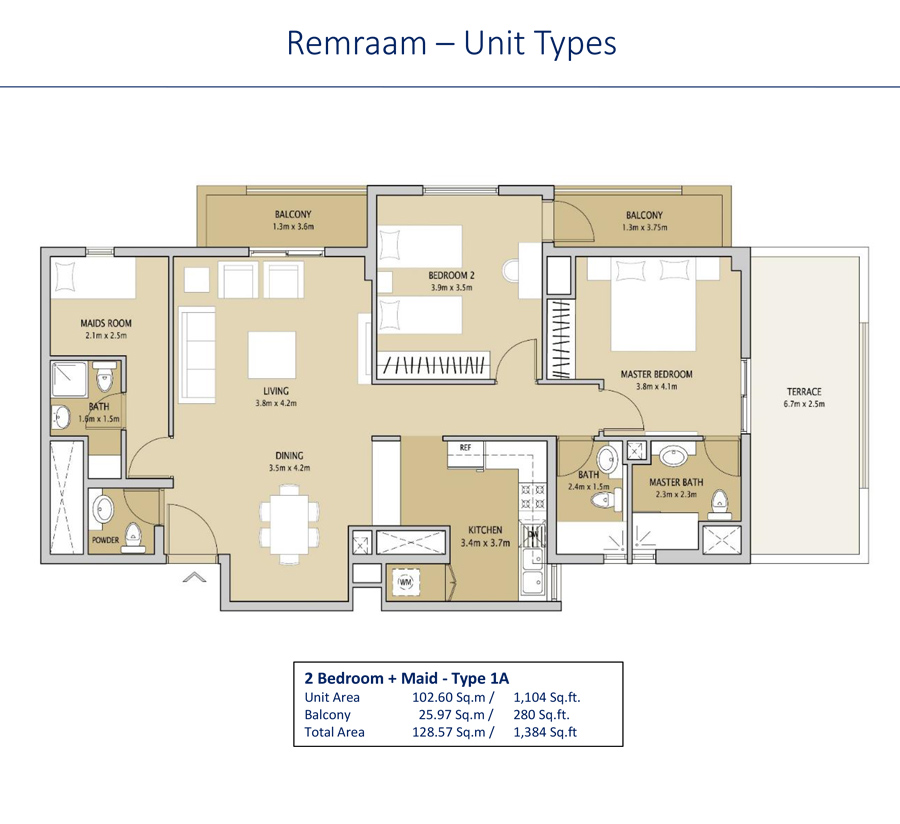 2 Bedroom +maid Type 1A