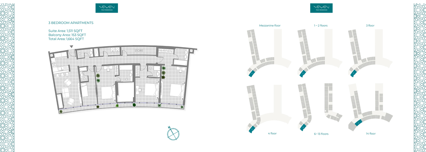 3 Bedroom Apartment, Size 1664 sq ft