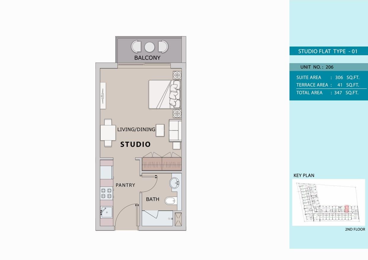 Studio Type 1, Size 347 sq ft