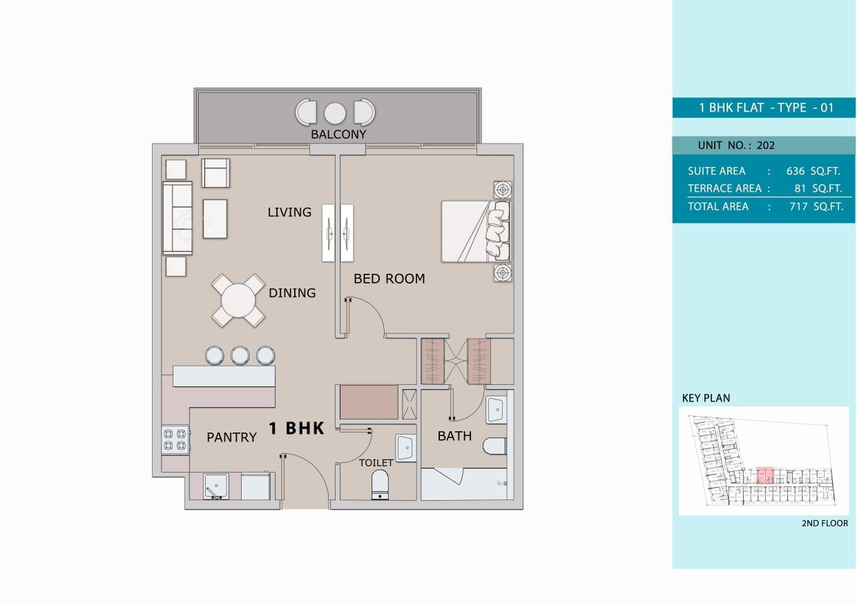 1 Bedroom Type 1, Size 717 sq ft