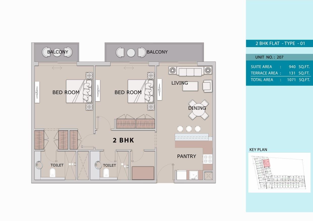 2 Bedroom Type 1, Size 1071 sq ft