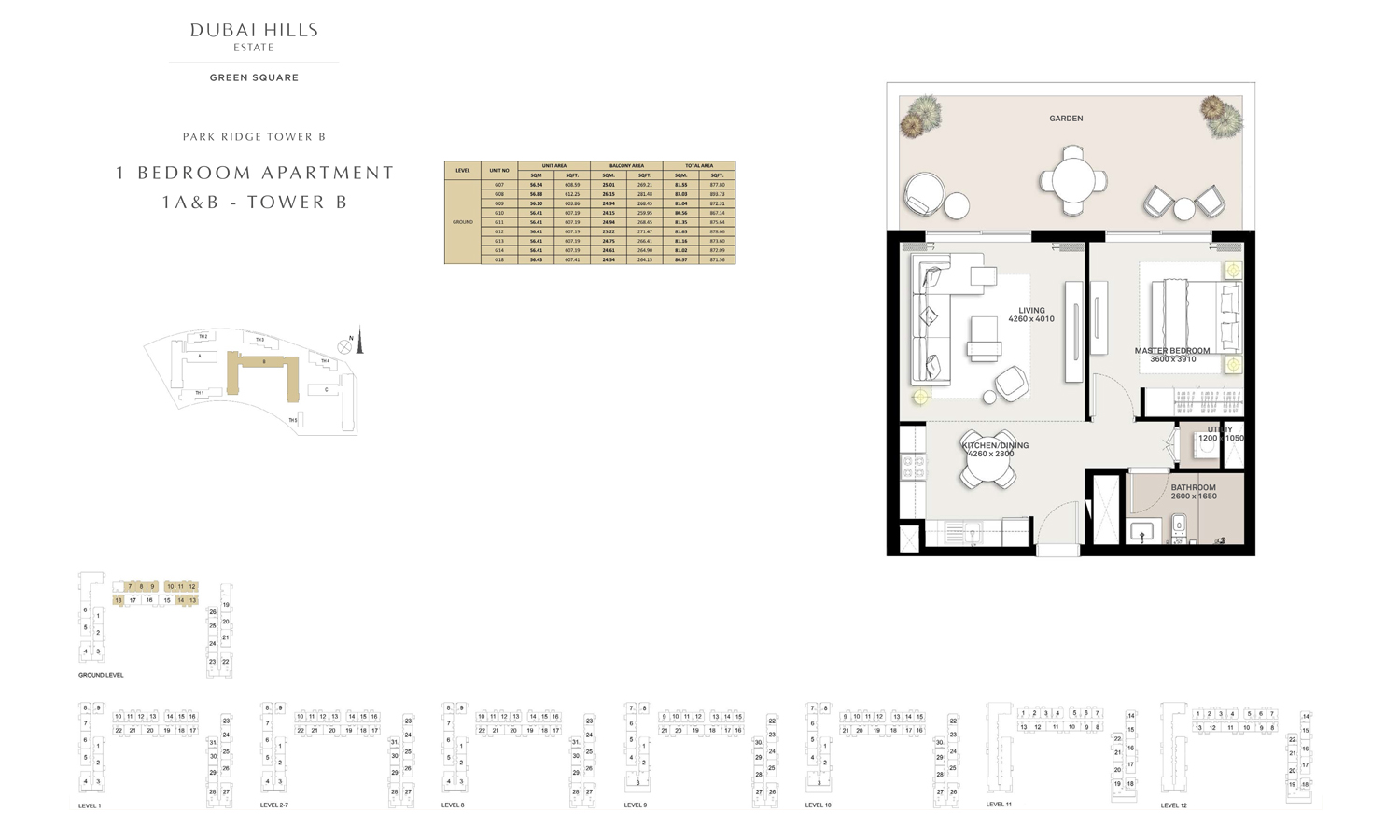 1 Bedroom Apartment 1 A & B - Tower B, Size 867 sq ft