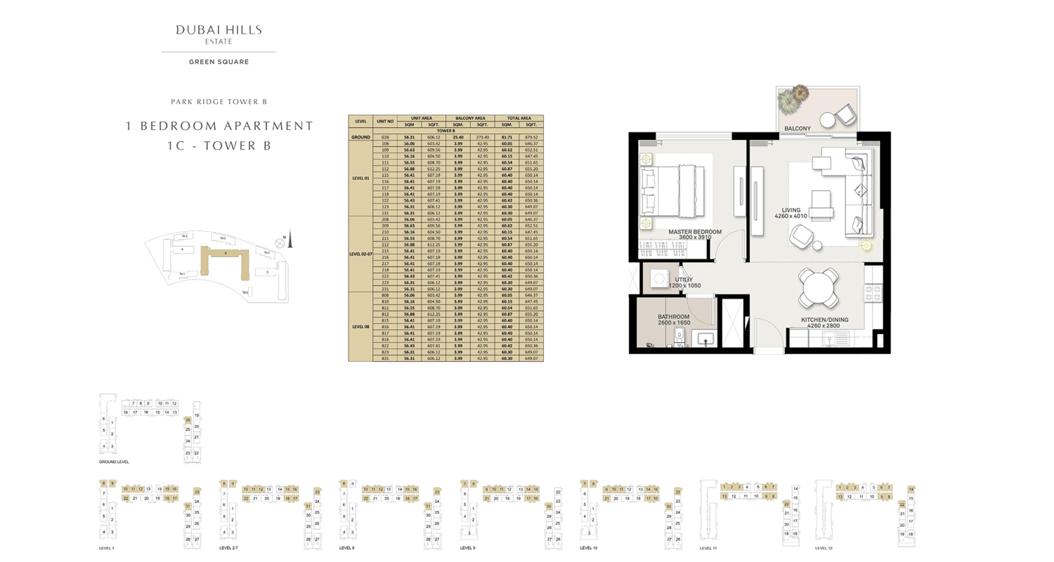 1 Bedroom Apartment 1 C - Tower B, Size 646 sq ft