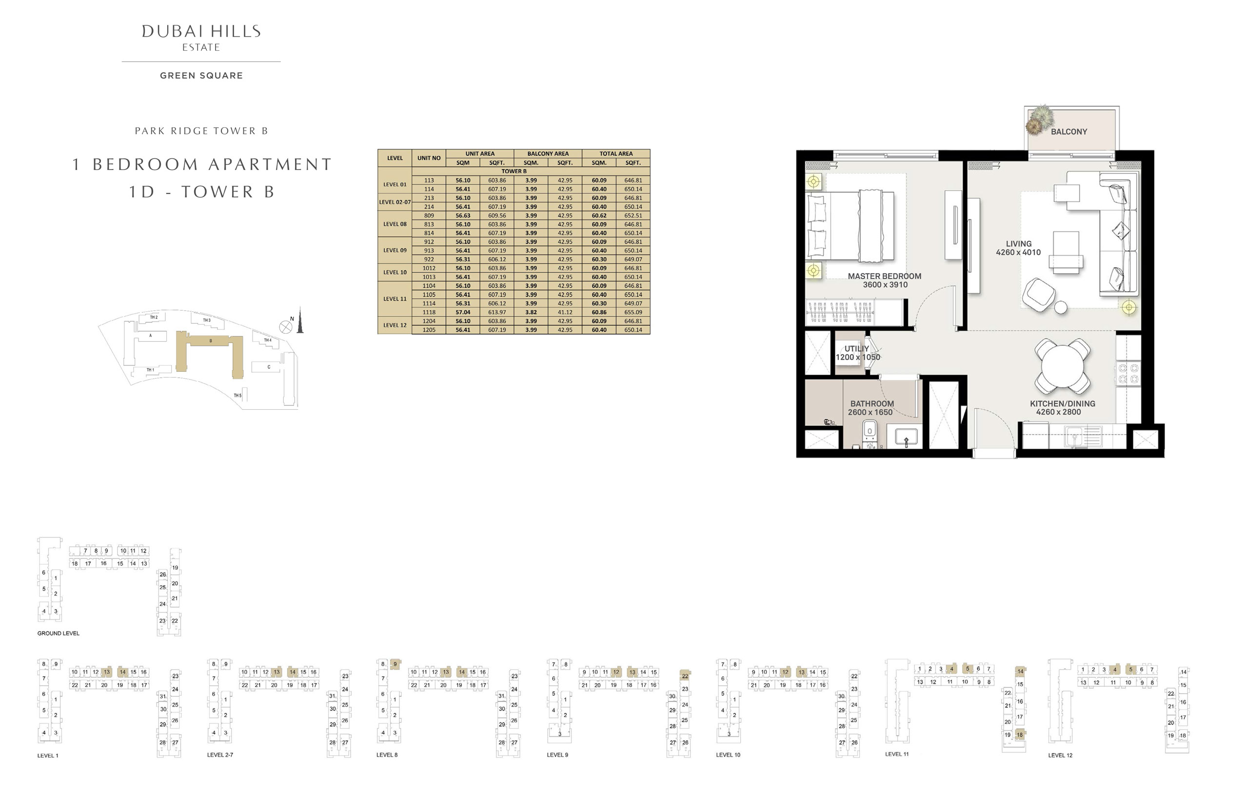 1 Bedroom Apartment 1 D - Tower B, Size 646 sq ft