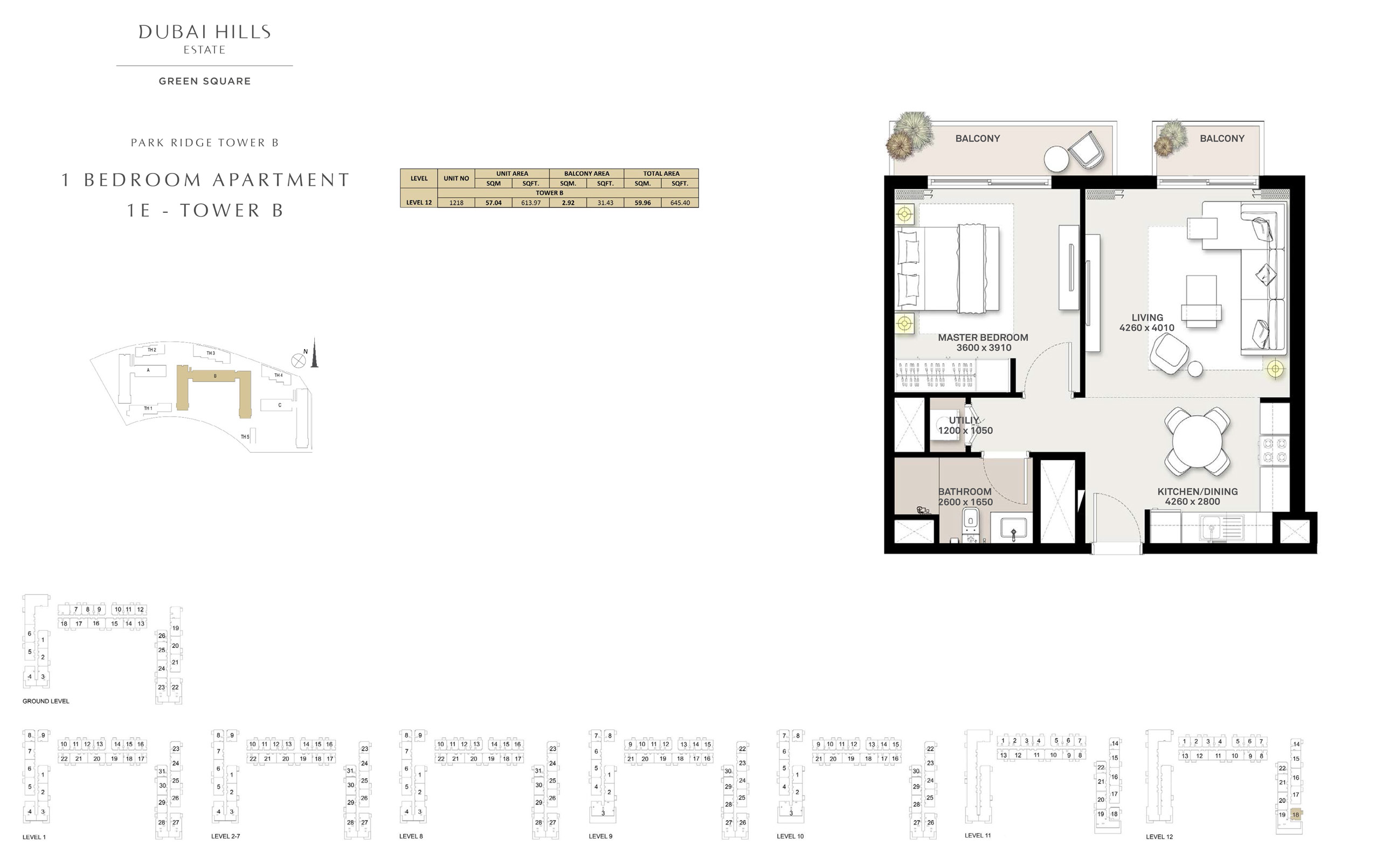 1 Bedroom Apartment 1 E - Tower B, Size 645 sq ft