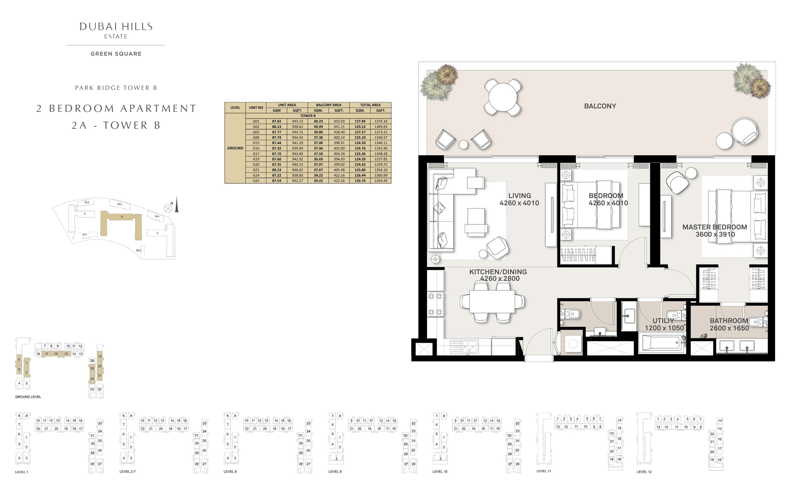 2 Bedroom Apartment 2 A - Tower B, Size 1337 sq ft