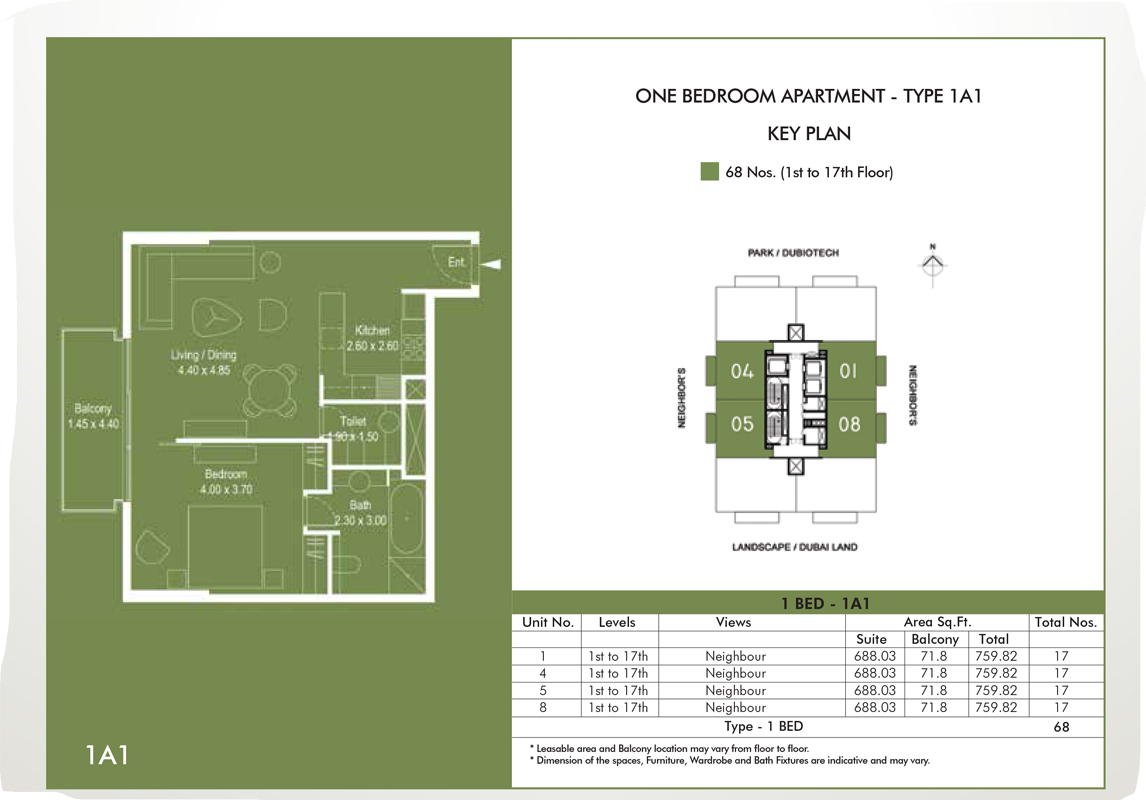 1 Bedroom Apartment Type 1A1, Size 759 sq ft