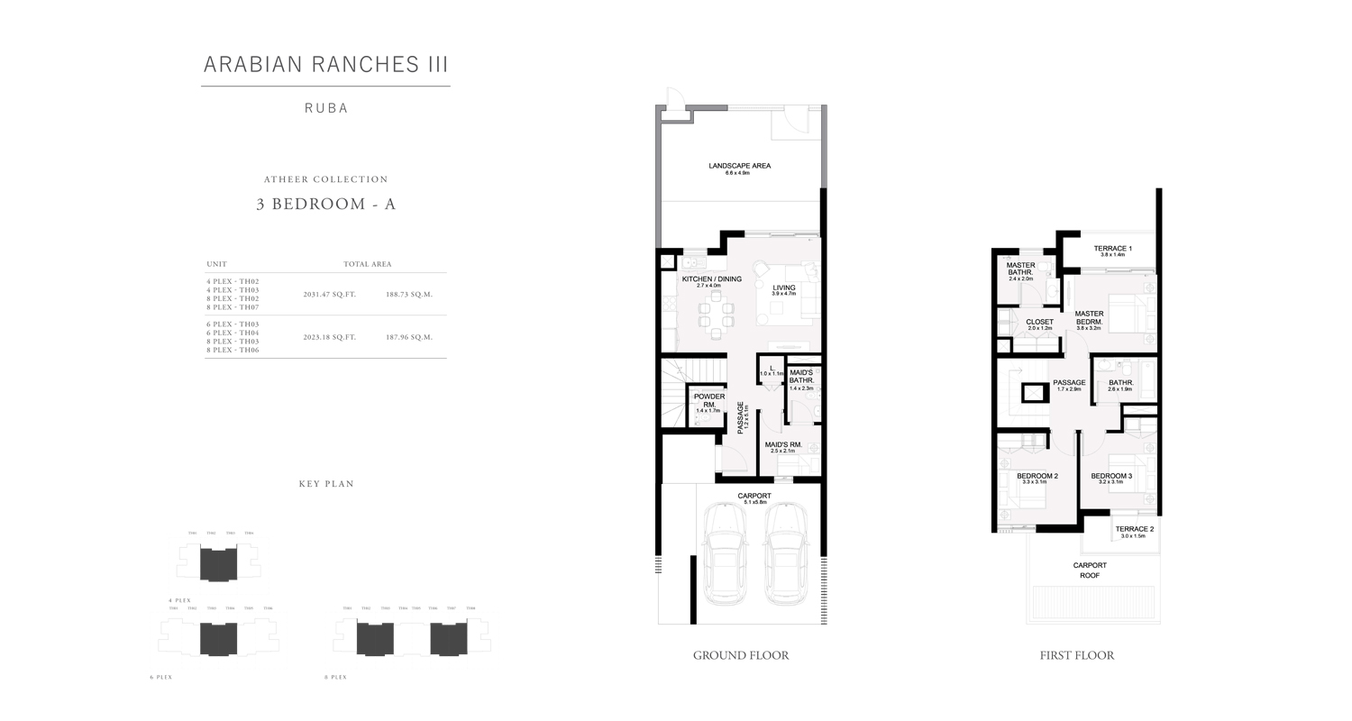 3 Bedroom - A Townhouses Atheer Collection, Size 2023 sq ft