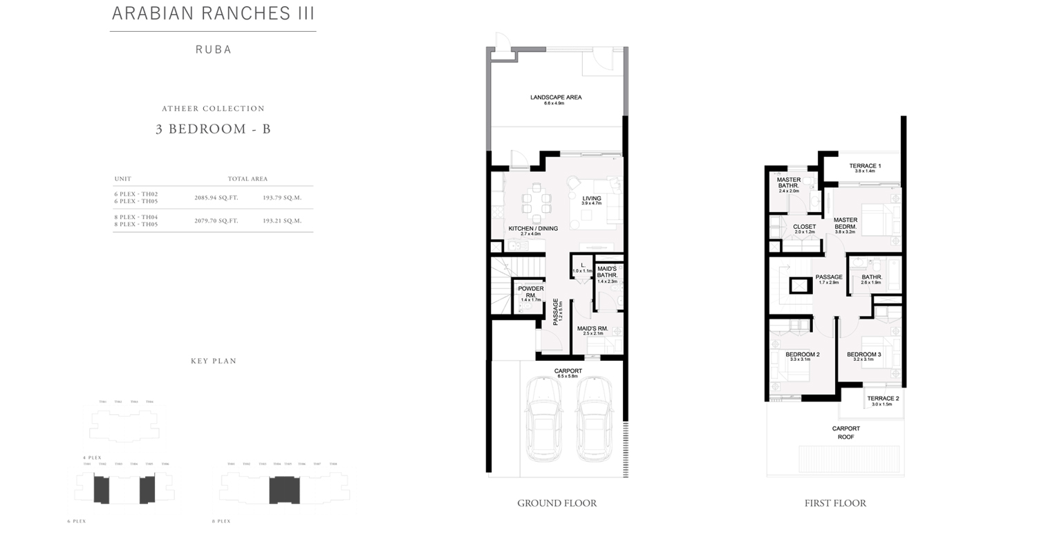 3 Bedroom - B Townhouses Atheer Collection, Size 2079 sq ft
