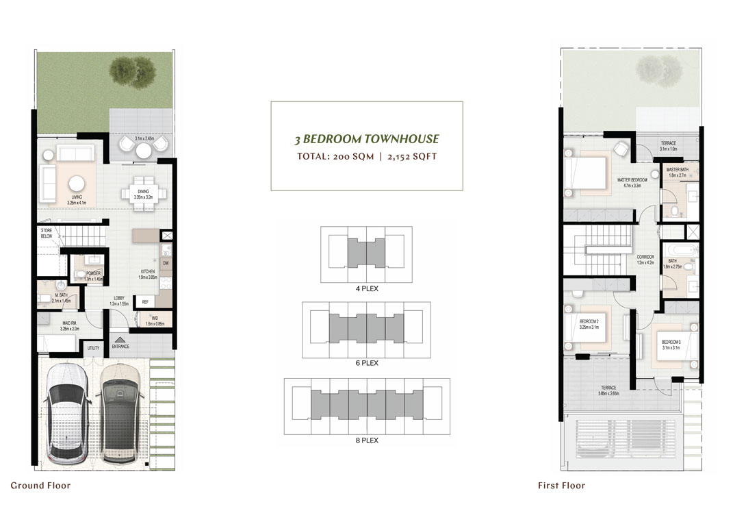 3 BR Townhouses, Size 2152 sq.ft