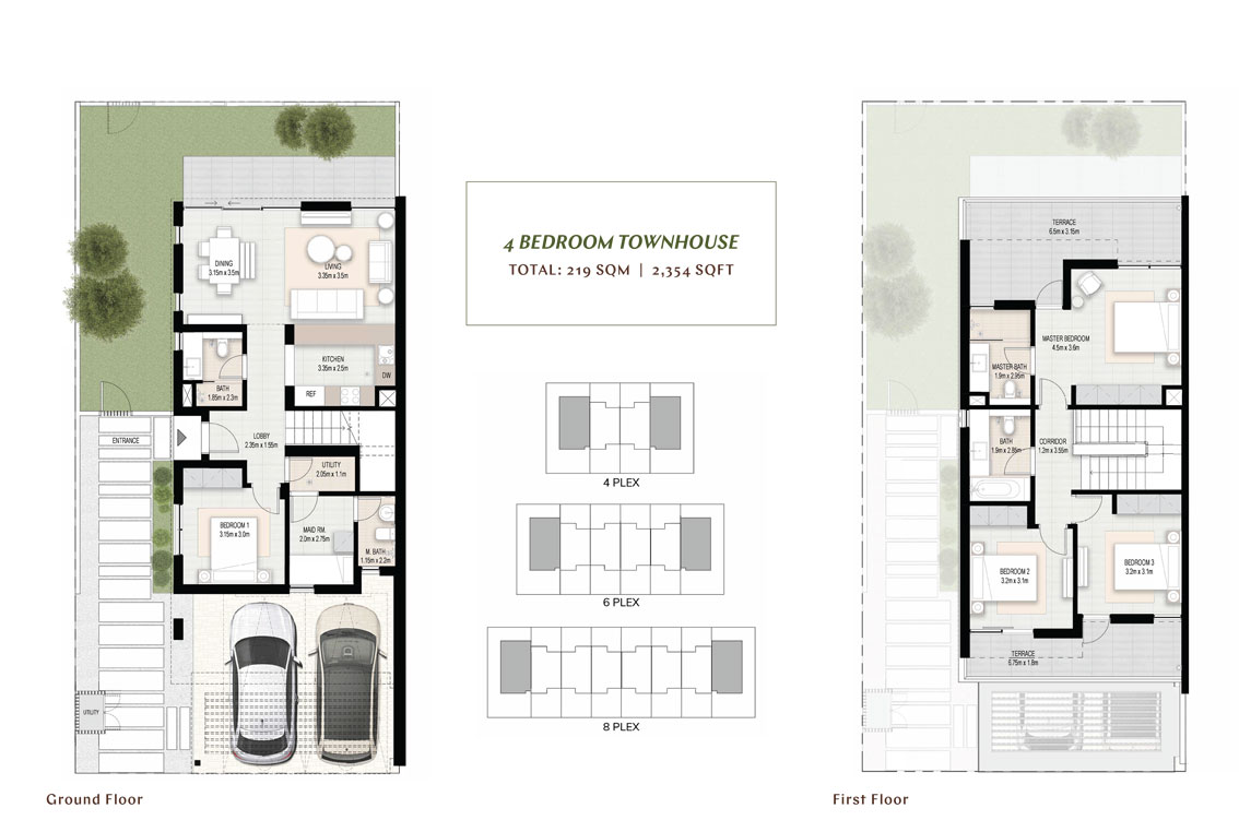 4 BR Townhouses, Size 2354 sq.ft