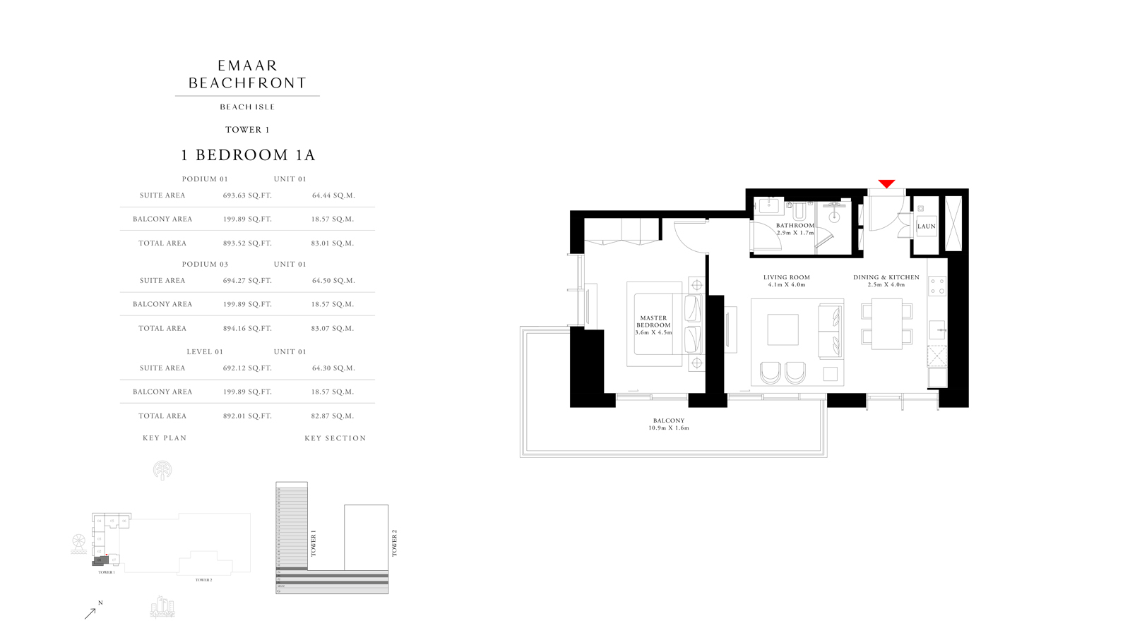 1 Bedroom 1A Tower 1, Size 892 sq ft