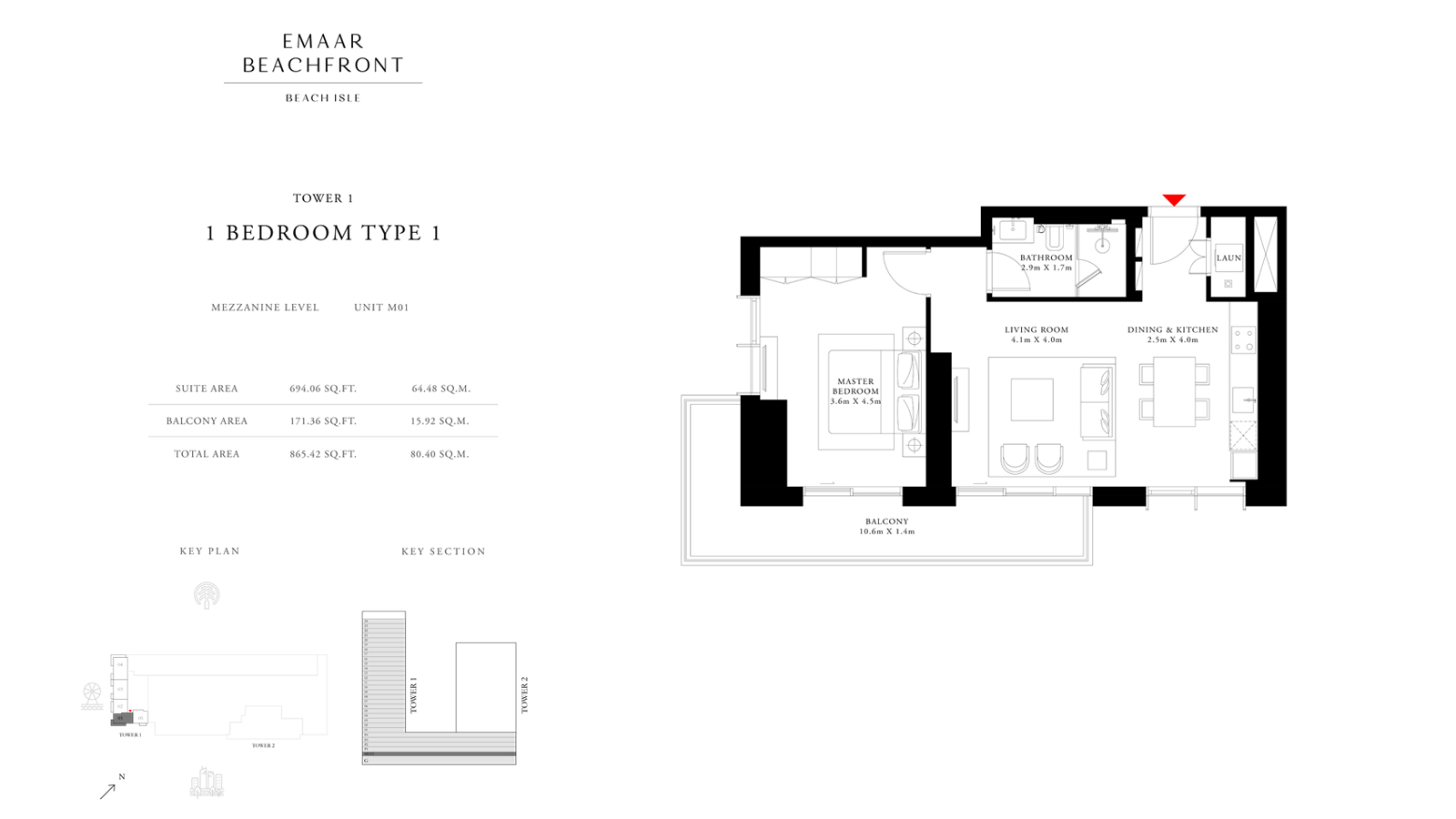 1 Bedroom Type 1 Tower 1, Size 865 sq ft