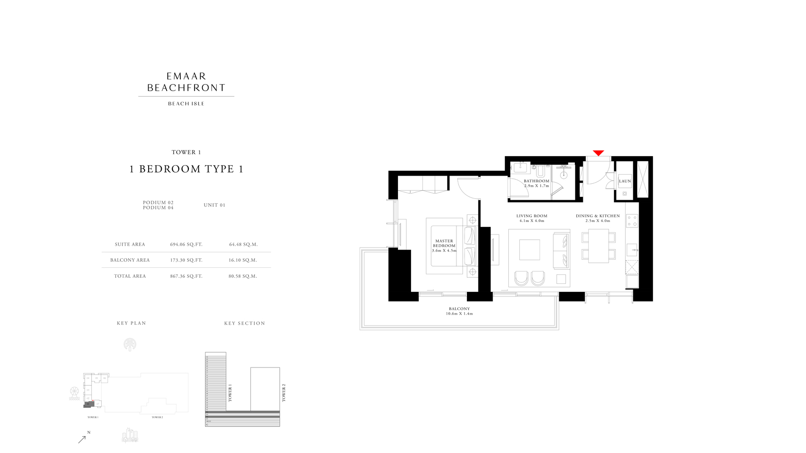 1 Bedroom Type 1 Tower 1, Size 867 sq ft