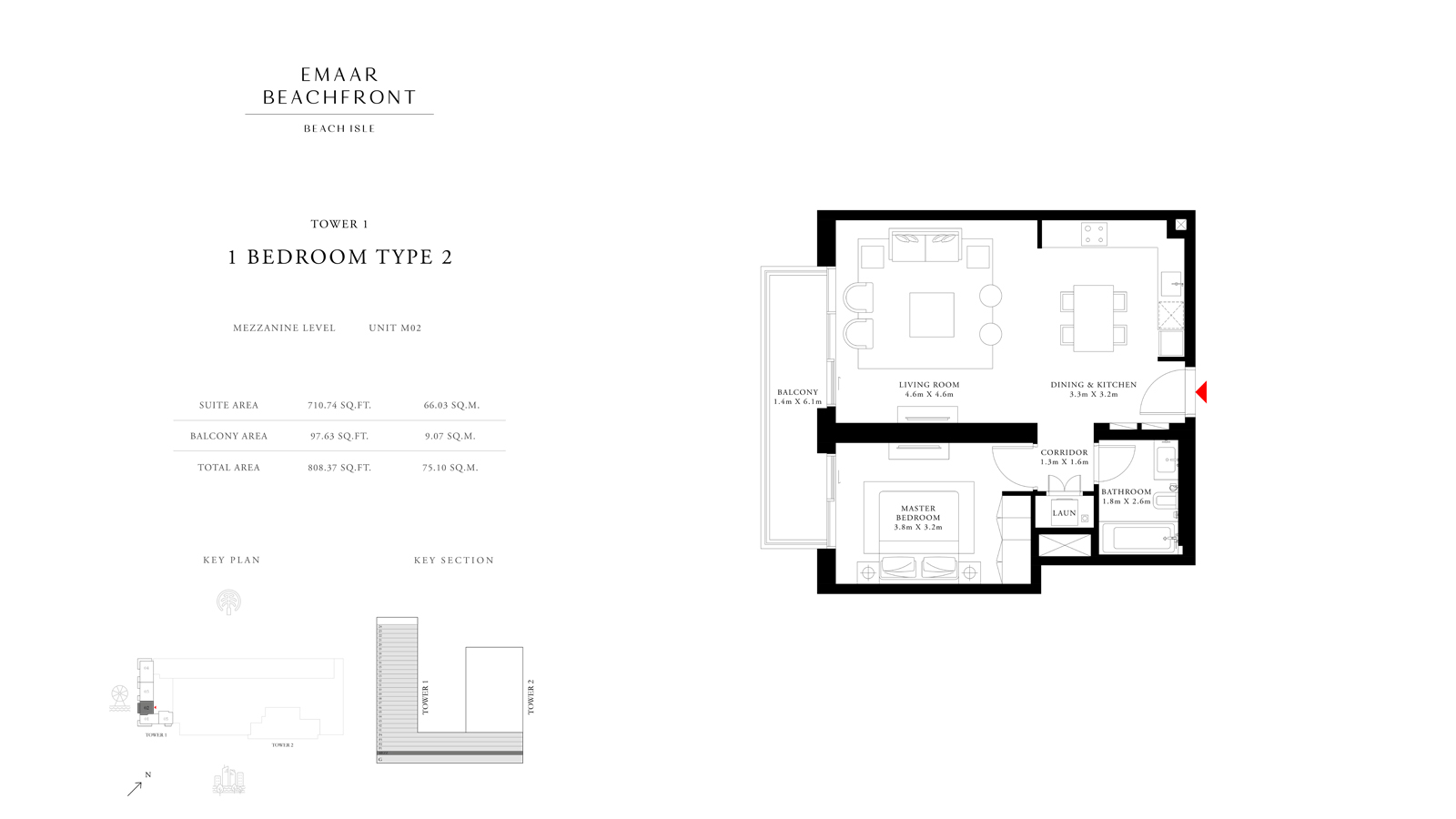 1 Bedroom Type 2 Tower 1, Size 808 sq ft