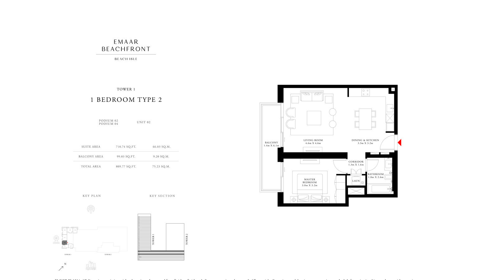 1 Bedroom Type 2 Tower 1, Size 809 sq ft