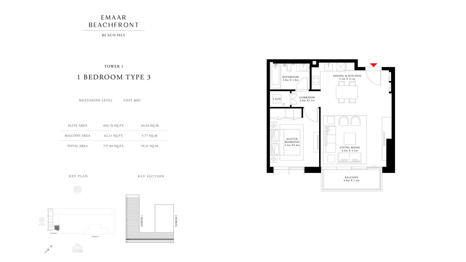 1 Bedroom Type 3 Tower 1, Size 757 sq ft