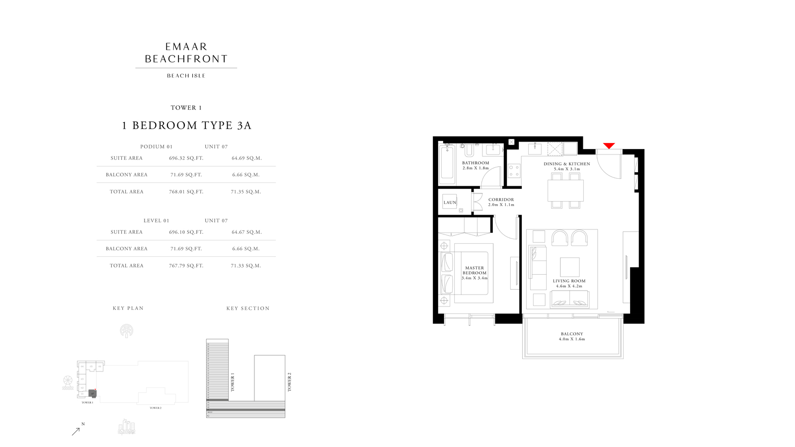 1 Bedroom Type 3A Tower 1, Size 768 sq ft