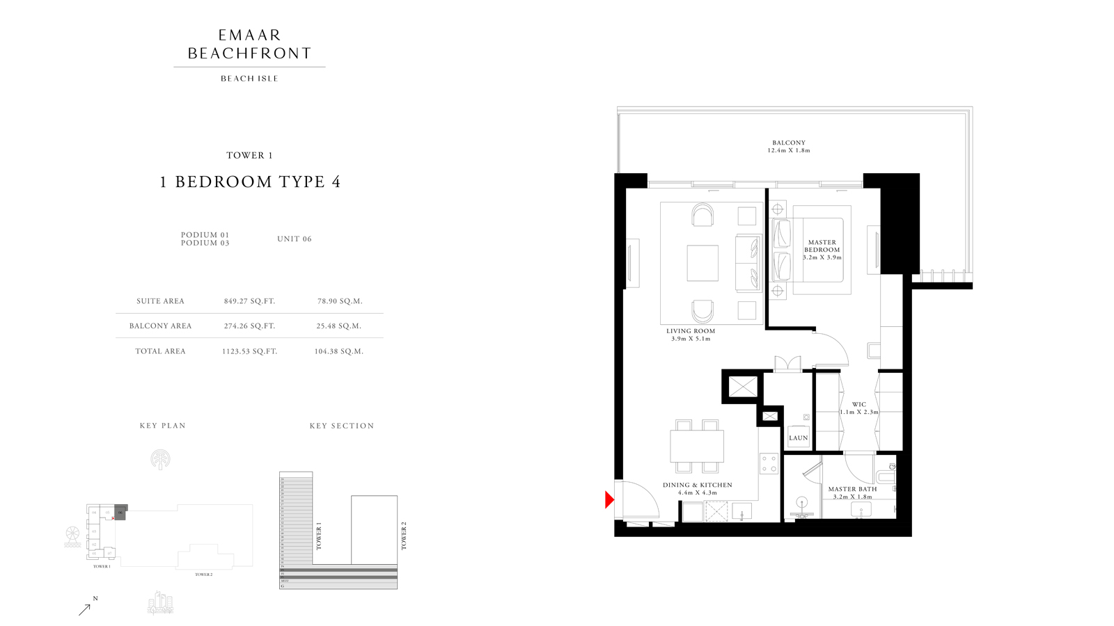 1 Bedroom Type 4 Tower 1, Size 1123 sq ft