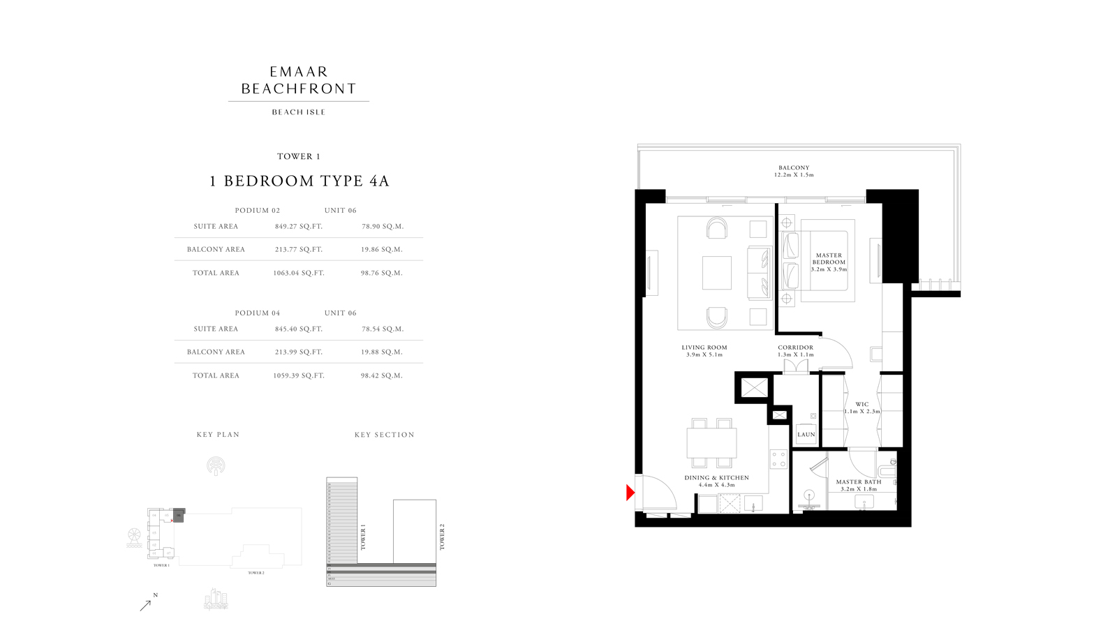 1 Bedroom Type 4A Tower 1, Size 1059 sq ft