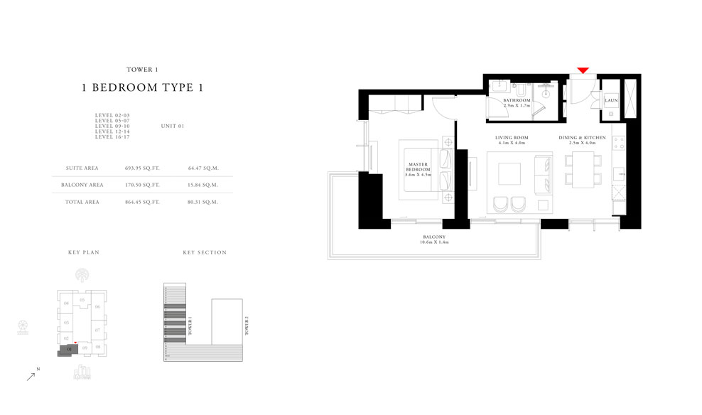 1 Bedroom Type 1 Tower 1,Size 864.45 sq.ft