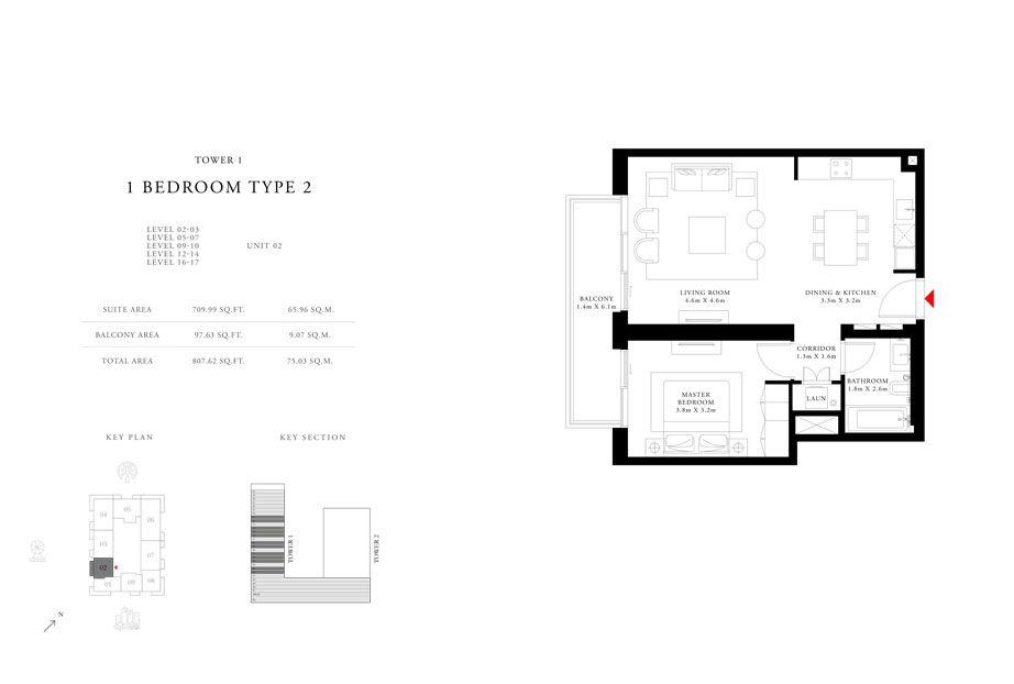 1 Bedroom Type 2 Tower 1,Size 807.62 sq.ft