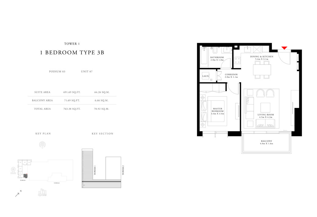 1 Bedroom Type 3B Tower 1,Size 763.38 sq.ft