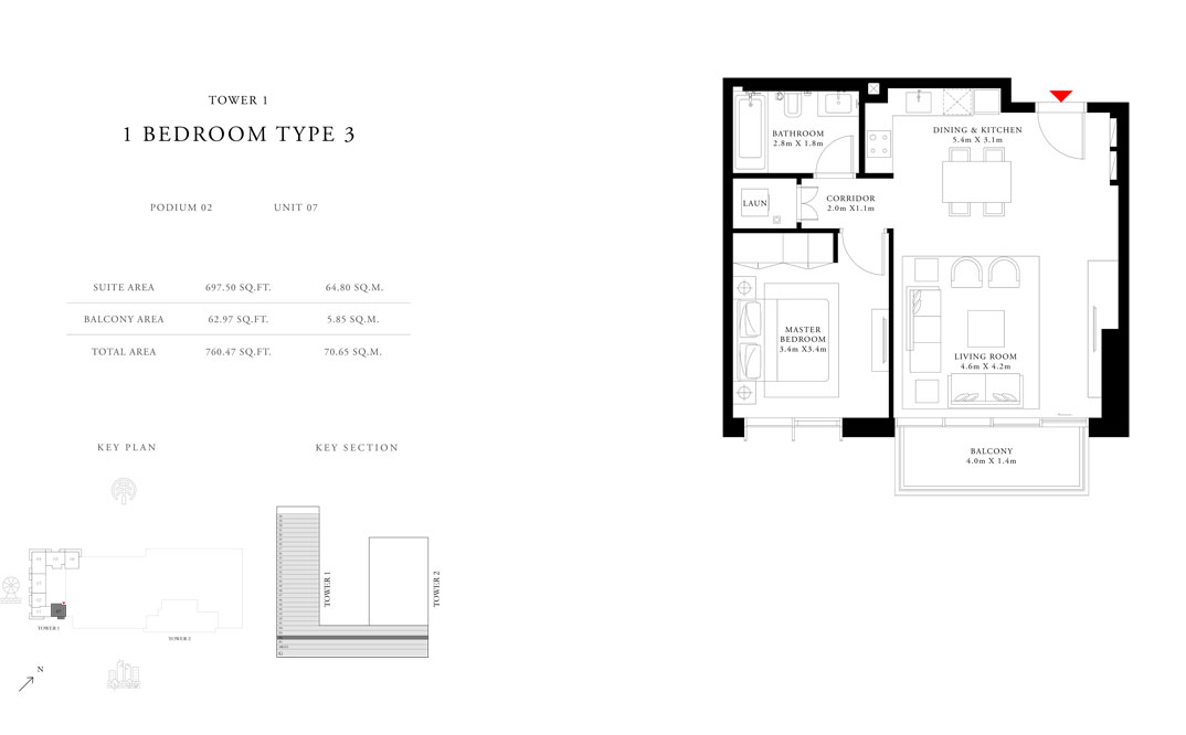 1 Bedroom Type 3 Tower 1, Size 760.47 sq.ft