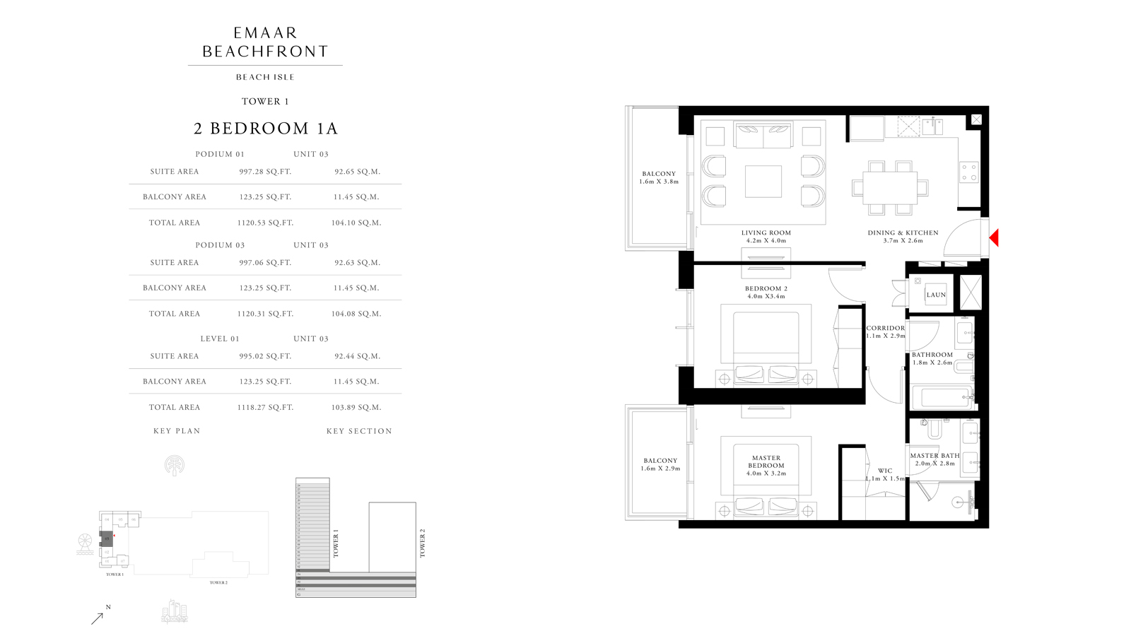 2 Bedroom 1A Tower 1, Size 1118 sq ft