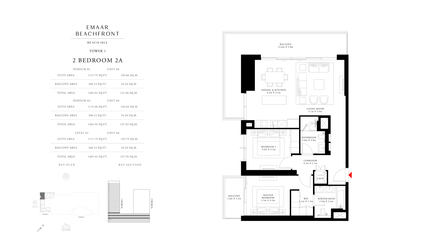 2 Bedroom 2A Tower 1, Size 1485 sq ft