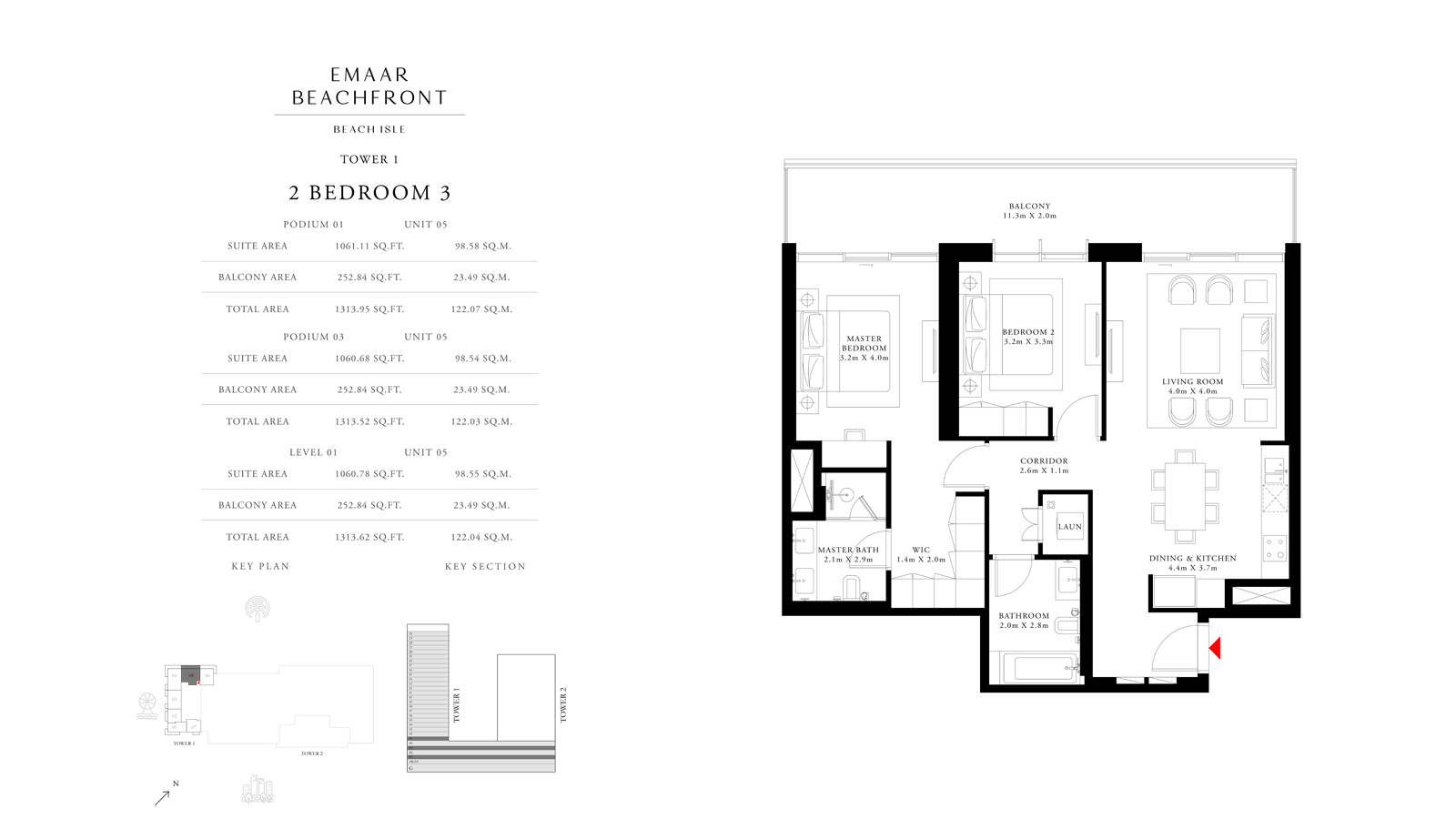 2 Bedroom 3 Tower 1, Size 1313 sq ft
