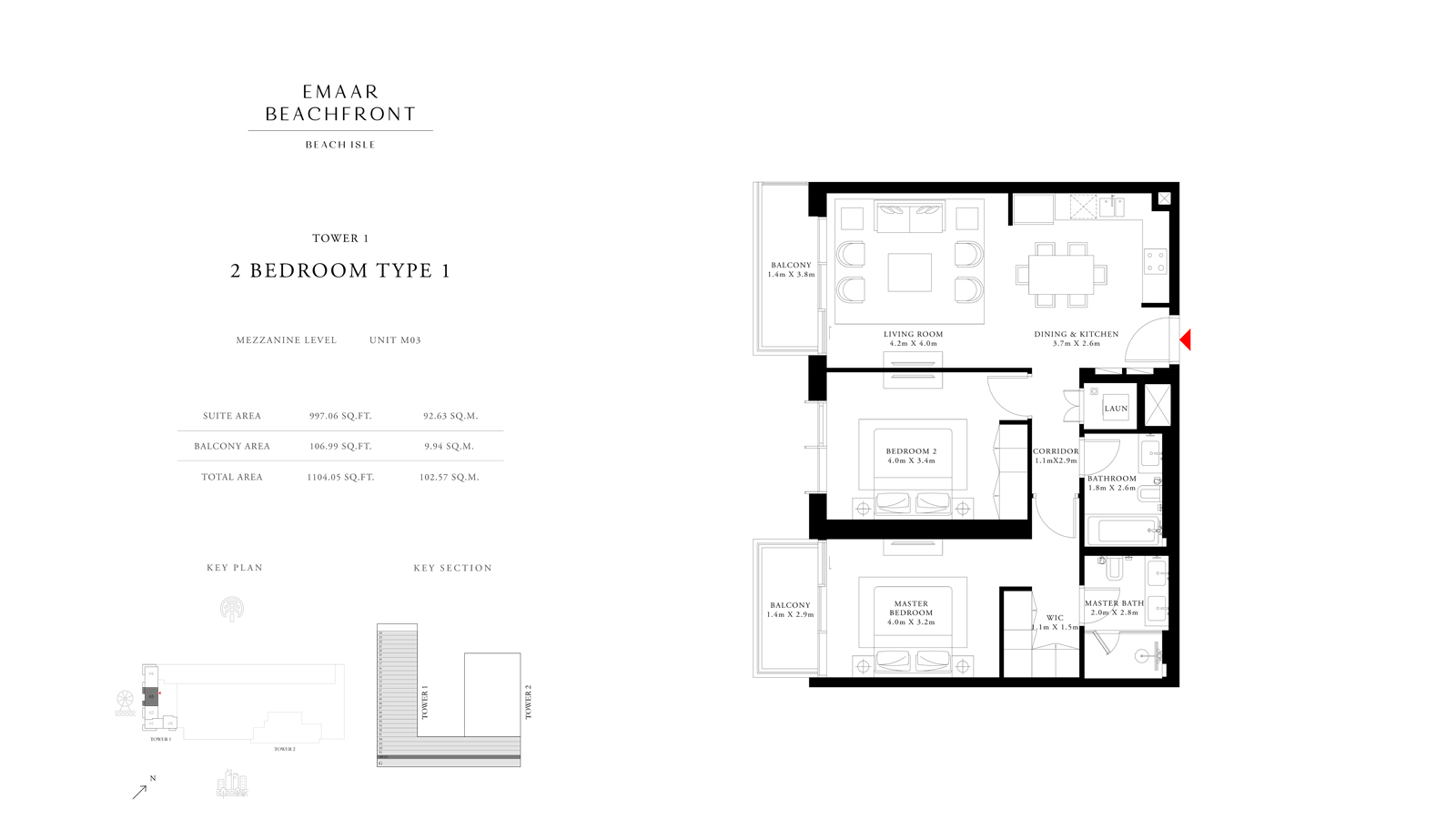 2 Bedroom Type 1 Tower 1, Size 1104 sq ft
