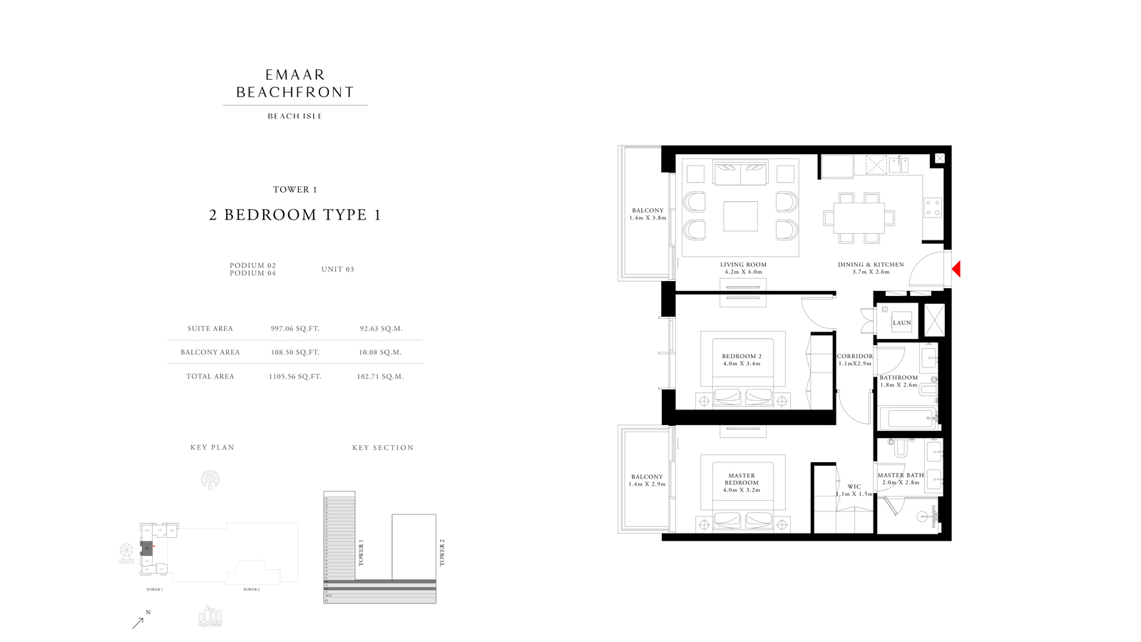 2 Bedroom Type 1 Tower 1, Size 1105 sq ft