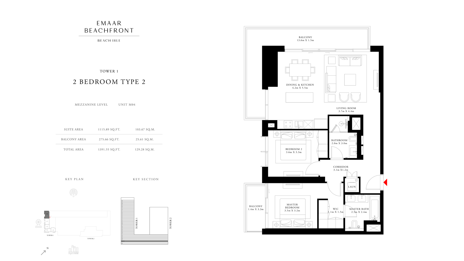 2 Bedroom Type 2 Tower 1, Size 1391 sq ft
