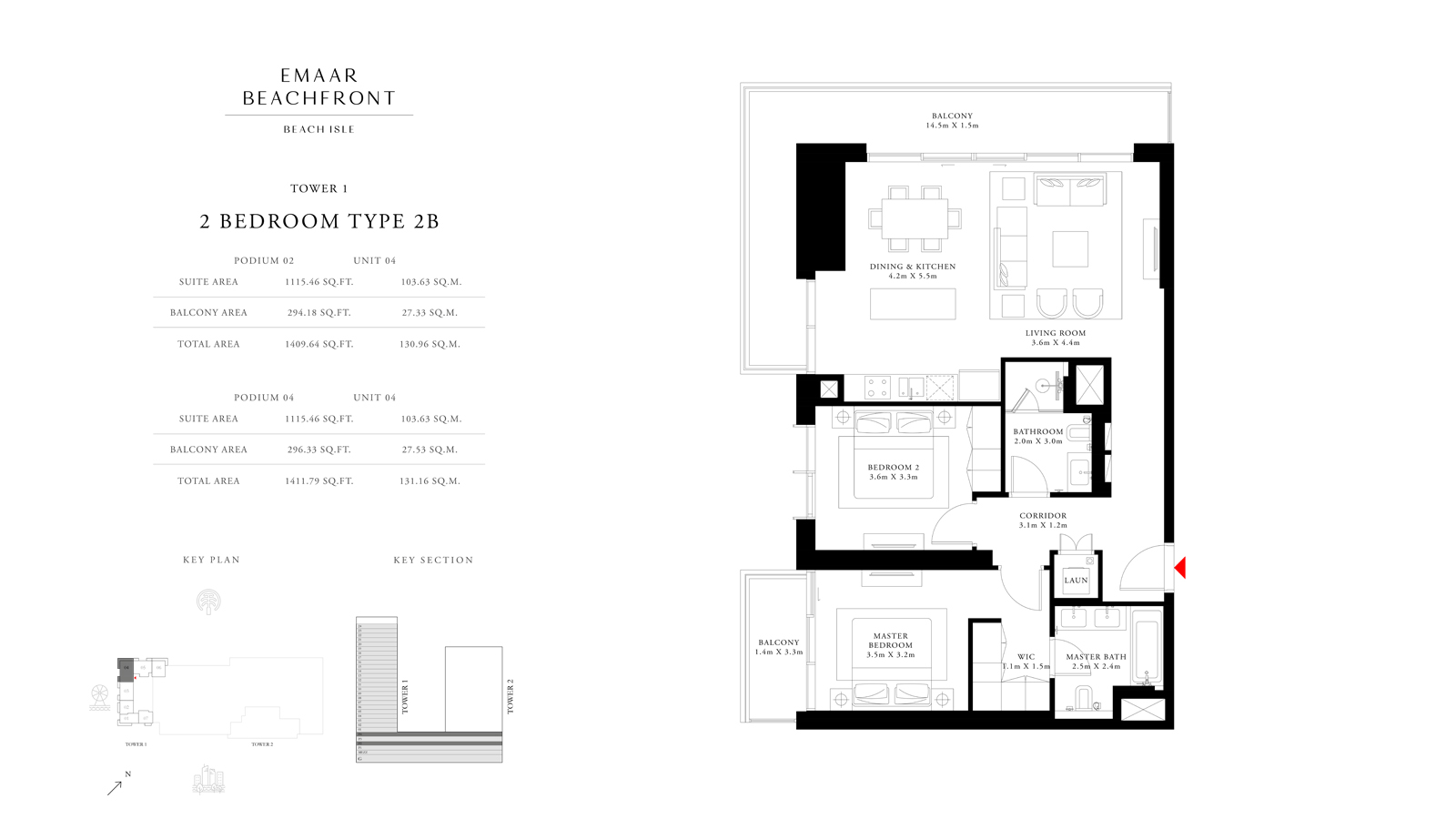 2 Bedroom Type 2B Tower 1, Size 1411 sq ft