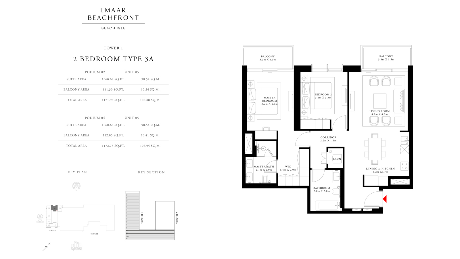 2 Bedroom Type 3A Tower 1, Size 1172 sq ft