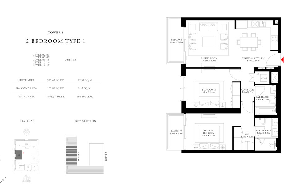 2 Bedroom Type 1 Tower 1,Size 1103.31 sq.ft