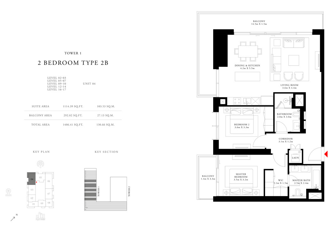 2 Bedroom Type 2B Tower 1,Size 1406.41 sq.ft