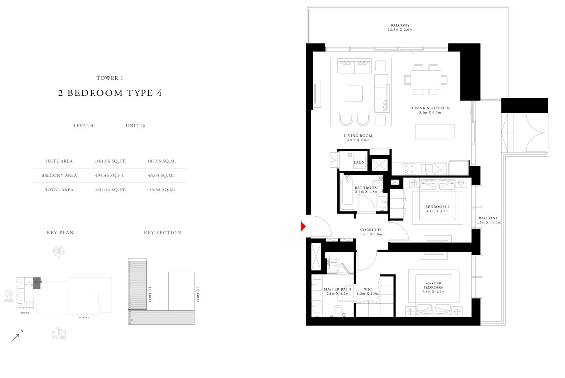 2 Bedroom Type 4 Tower 1,Size 1657.42 sq.ft